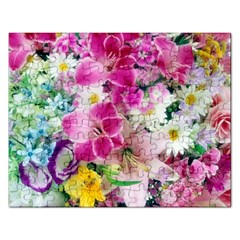 Colorful Flowers Patterns Rectangular Jigsaw Puzzl by BangZart