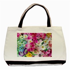Colorful Flowers Patterns Basic Tote Bag by BangZart