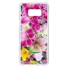 Colorful Flowers Patterns Samsung Galaxy S8 Plus White Seamless Case