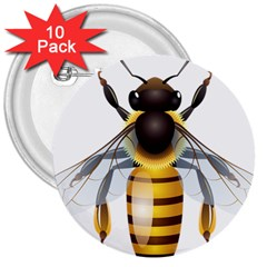 Bee 3  Buttons (10 Pack)  by BangZart