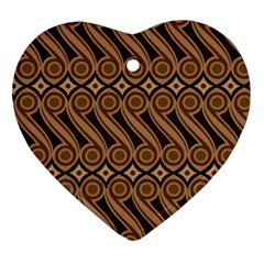 Batik The Traditional Fabric Heart Ornament (two Sides) by BangZart