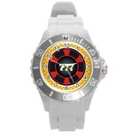 Casino Chip Clip Art Round Plastic Sport Watch (L) Front