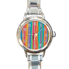 Colorful Striped Background Round Italian Charm Watch by TastefulDesigns