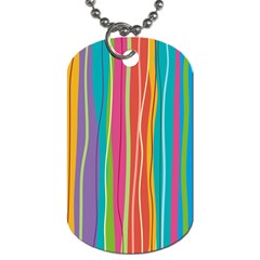Colorful Striped Background Dog Tag (two Sides) by TastefulDesigns