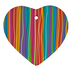 Colorful Striped Background Heart Ornament (two Sides) by TastefulDesigns
