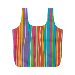 Colorful Striped Background Full Print Recycle Bags (m)  by TastefulDesigns