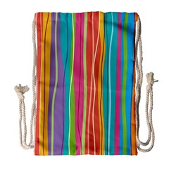 Colorful Striped Background Drawstring Bag (large)
