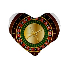 Casino Roulette Clipart Standard 16  Premium Flano Heart Shape Cushions by BangZart
