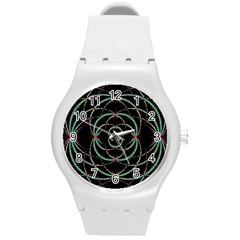 Abstract Spider Web Round Plastic Sport Watch (m)