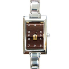 Brown Bag Rectangle Italian Charm Watch by BangZart