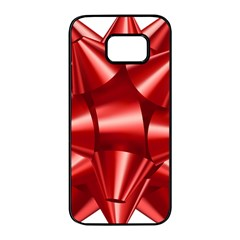 Red Bow Samsung Galaxy S7 Edge Black Seamless Case by BangZart