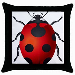 Ladybug Insects Throw Pillow Case (black) by BangZart