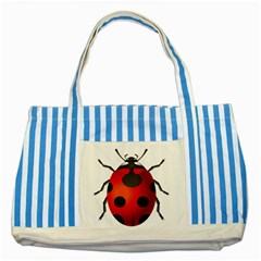 Ladybug Insects Striped Blue Tote Bag by BangZart