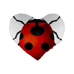 Ladybug Insects Standard 16  Premium Flano Heart Shape Cushions by BangZart