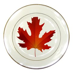 Autumn Maple Leaf Clip Art Porcelain Plates by BangZart