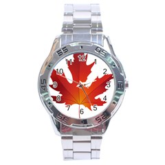 Autumn Maple Leaf Clip Art Stainless Steel Analogue Watch by BangZart
