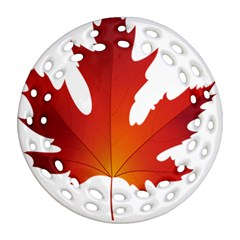 Autumn Maple Leaf Clip Art Round Filigree Ornament (two Sides) by BangZart