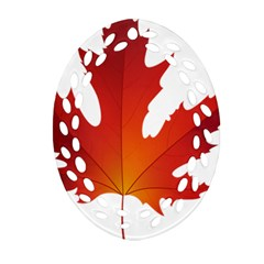 Autumn Maple Leaf Clip Art Oval Filigree Ornament (two Sides) by BangZart