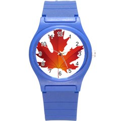 Autumn Maple Leaf Clip Art Round Plastic Sport Watch (s) by BangZart