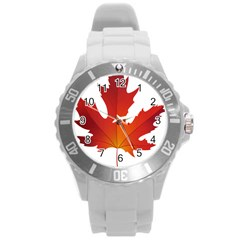Autumn Maple Leaf Clip Art Round Plastic Sport Watch (l) by BangZart