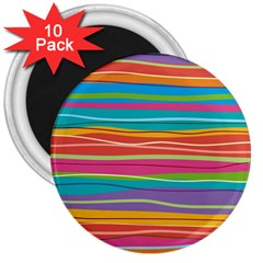 Colorful Horizontal Lines Background 3  Magnets (10 Pack)  by TastefulDesigns