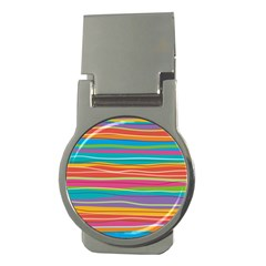 Colorful Horizontal Lines Background Money Clips (round)  by TastefulDesigns