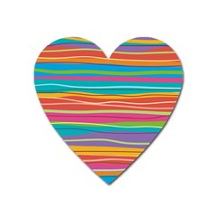 Colorful Horizontal Lines Background Heart Magnet by TastefulDesigns