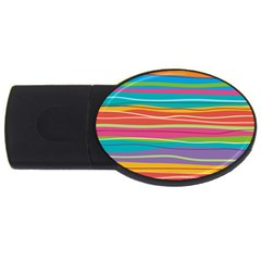 Colorful Horizontal Lines Background Usb Flash Drive Oval (4 Gb) by TastefulDesigns
