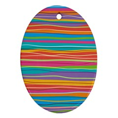 Colorful Horizontal Lines Background Oval Ornament (two Sides) by TastefulDesigns