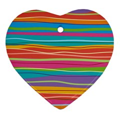 Colorful Horizontal Lines Background Heart Ornament (two Sides) by TastefulDesigns