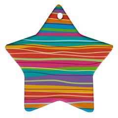 Colorful Horizontal Lines Background Star Ornament (two Sides) by TastefulDesigns