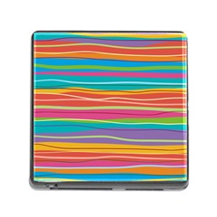 Colorful Horizontal Lines Background Memory Card Reader (square) by TastefulDesigns