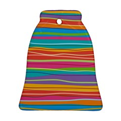 Colorful Horizontal Lines Background Bell Ornament (two Sides) by TastefulDesigns