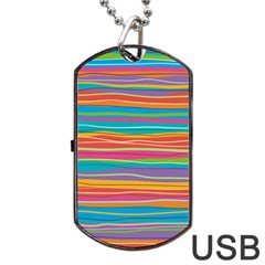 Colorful Horizontal Lines Background Dog Tag Usb Flash (one Side) by TastefulDesigns