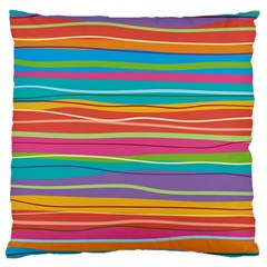Colorful Horizontal Lines Background Large Cushion Case (one Side) by TastefulDesigns