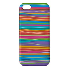 Colorful Horizontal Lines Background Apple Iphone 5 Premium Hardshell Case by TastefulDesigns