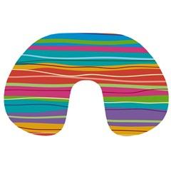 Colorful Horizontal Lines Background Travel Neck Pillows by TastefulDesigns