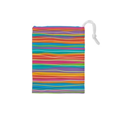 Colorful Horizontal Lines Background Drawstring Pouches (small)  by TastefulDesigns