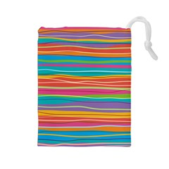 Colorful Horizontal Lines Background Drawstring Pouches (large)  by TastefulDesigns