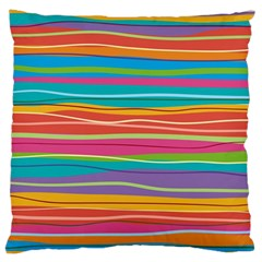 Colorful Horizontal Lines Background Standard Flano Cushion Case (two Sides) by TastefulDesigns