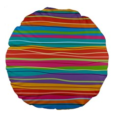 Colorful Horizontal Lines Background Large 18  Premium Flano Round Cushions by TastefulDesigns