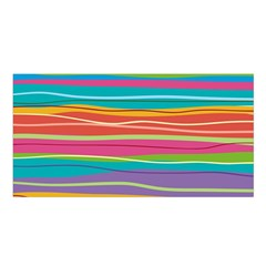 Colorful Horizontal Lines Background Satin Shawl by TastefulDesigns