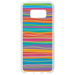 Colorful Horizontal Lines Background Samsung Galaxy S8 White Seamless Case by TastefulDesigns