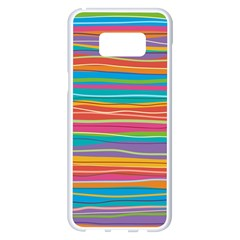 Colorful Horizontal Lines Background Samsung Galaxy S8 Plus White Seamless Case by TastefulDesigns
