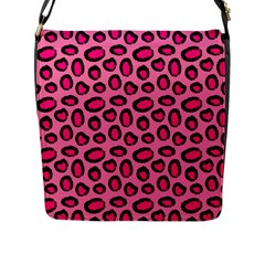 Cute Pink Animal Pattern Background Flap Messenger Bag (l)  by TastefulDesigns