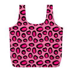 Cute Pink Animal Pattern Background Full Print Recycle Bags (l)