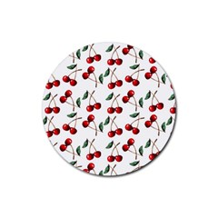 Cherry Red Rubber Round Coaster (4 Pack)  by Kathrinlegg