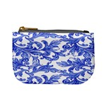 Dark Royal Blue Spring Flower Mini Coin Purse Front