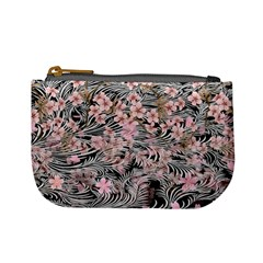 Light Pink & Black Spring Flower Mini Coin Purse