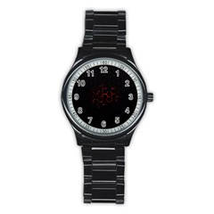 Abstract Pattern Honeycomb Stainless Steel Round Watch by BangZart